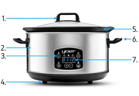 YOER CLEVER-COOK SC4502S Slow Cooker - Electric Ceramic Pot with Timer